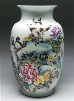 Sale 9153 - Lot 19 - A bird and flower decorated Chinese baluster vase (H: 40cm)