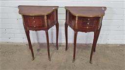 Sale 9157 - Lot 1091 - Pair of French style two drawer bedsides with gilt feet and mounts (h: 69.5cm)
