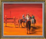 Sale 8408 - Lot 504 - Robert Kerr (1925 - 2003) - Four Horsemen 48 x 59cm