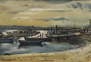 Sale 8683 - Lot 583 - William E Tristram (1870 - 1938) - Sydney Airport from Wolli Creek 23 x 34cm