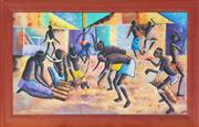 Sale 8981 - Lot 2057 - Digna, African Village Dance oil on canvas board, 56.5 x 95.5 cm (frame: 109 x 71 x 3 cm), signed lower right