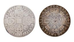 Sale 9130E - Lot 15 - A George III sterling silver shilling depicting crowns between four shields on the reverse, dated 1787 together with a George II ste...