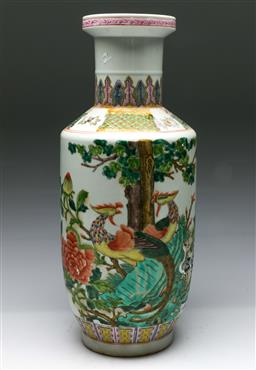 Sale 9153 - Lot 6 - A Famille Verte Chinese baluster vase (H: 46cm)