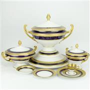 Sale 8332 - Lot 9 - Bohemian Royal Blue & Gilt Dinner Wares