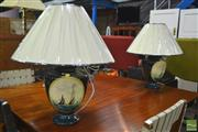 Sale 8341 - Lot 1095 - Pair of Italian Hand Painted Table Lamps Depicting Sailing Boat (3810)