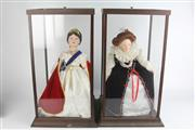 Sale 8405 - Lot 83 - Franklin Mint Porcelain Dolls in Display Cases; Queen Victoria & Elizabeth I