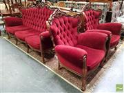 Sale 8480 - Lot 1017 - French Style Three Piece Suite with Maroon Velvet Button Back Upholstery incl. Pair of Armchairs & Three Seater Sofa - Slight Wobble