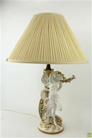 Sale 8576 - Lot 1055 - Victorian Copelands Porcelain Figure Mounted as Table Lamp, of Psyche as a scantily clad young woman, with applied fern leaves & lil...