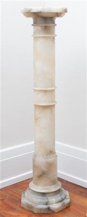 Sale 8590A - Lot 22 - An alabaster pedestal, H 113 x top 25 x 25cm