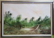 Sale 8595 - Lot 2018 - Jim Crofts (1922-) - Swamps - Oil on Board, signed, dated 1981, 60x90cm