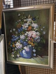 Sale 8726 - Lot 2011 - Artist Unknown - Still Life, Flowers in Blue Vase, oil, 61x51cm