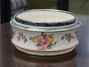Sale 8782A - Lot 38 - An English ceramic jardinière with silverplated rim and floral decoration, maker JG & Sons Crescent. Diameter 21cm