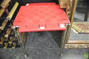 Sale 8361 - Lot 1040 - Weaved Red Leather Stool with Metal Frame