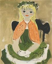 Sale 8549 - Lot 505 - Elaine Haxton (1909 - 1999) - Young Sitter in the Green Dress 42 x 34cm