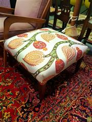 Sale 8648 - Lot 1033 - Floral Upholstered Top Ottoman on Timber Legs