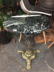 Sale 8822 - Lot 1775 - Marble Top Wine Table over Brass Base (H: 48.5 D: 41cm)