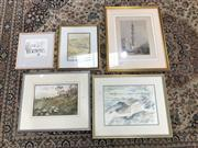 Sale 9045 - Lot 2071 - 8 Paintings, Prints, etc