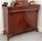 Sale 9058H - Lot 75 - A Mahogany Chiffonier with two doors below cushion drawer, raised on short paw feet. Height 102cm x Width 123cm x Depth 47cm