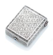 Sale 9074 - Lot 366 - A VINTAGE AUSTRIAN SILVER MAKEUP CASE;  with engraved geometric palm leaf design top and sides to engine tuned bottom, release butto...