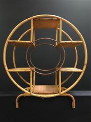 Sale 8431 - Lot 1100 - Circular Deco Style Cane Shelving Unit