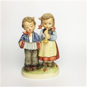 Sale 8456B - Lot 9 - Hummel Figure of a Boy & Girl Playing Instruments
