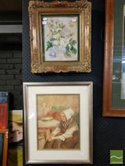 Sale 8491 - Lot 2077 - Artists Unknown (2 works) - Still Life - Flower Bouquet; Elderly Dutch Woman 43 x 38cm; ;54 x 44cm (frame sizes)