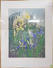 Sale 8604 - Lot 2007 - Pamela Griffith - Irises, hand coloured etching, 84 x 65.5cm, frame, signed lower right