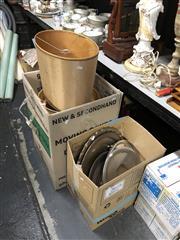 Sale 8819 - Lot 2525 - Vanity Mirror, Lamps, Shades & Metal Platters