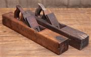 Sale 8984H - Lot 27 - A pair of timber planes by Ward, blades intact. Each length approx 56cm.