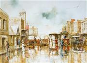 Sale 9021 - Lot 555 - John Guy (1944 - 2000) - Sydney Street Scene, c1920s 55 x 75 cm (frame: 73 x 94 x 5 cm)