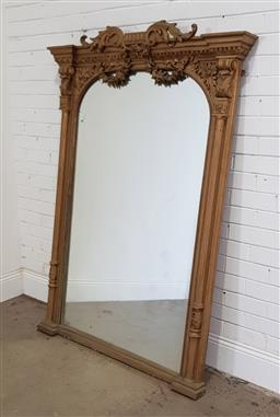 Sale 9196 - Lot 1009 - Victorian Gilt Overmantle Mirror, the flattened arch surmounted by scrolls & festoons below, flanked by turned columns with brackets...