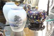 Sale 8360 - Lot 9 - Royal Copenhagen Vase with a Cloisonne Vase upon Stand