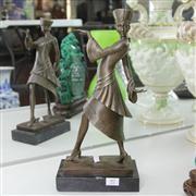 Sale 8379 - Lot 97 - Statue of a Lady Miss Paris, bronze on base, H-38cm