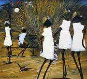Sale 8549 - Lot 513 - Richard Bogusz (1947 - ) - Girls and Flowers 55 x 60cm