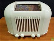 Sale 8585 - Lot 1007 - Kreisler Plumb Pudding Bakelite Mantle Radio in Cream (Fully Restored)