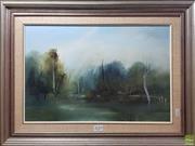 Sale 8595 - Lot 2025 - Ken Taber (1942-) - Lagoon - Oil on Board, signed 29x44cm -