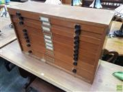 Sale 8601 - Lot 1487 - Timber Specimen Chest with Ten Drawers (H: 47 W: 78 D: 25cm)