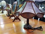 Sale 8629 - Lot 1039 - Pair Brown Shade Lamps