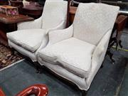 Sale 8834 - Lot 1022 - Pair of French Style Armchairs with Down Filled Cushions