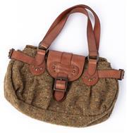Sale 8910F - Lot 42 - A Longchamp tweed and brown leather handbag