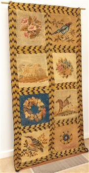 Sale 8976H - Lot 98 - A 19th Century gros petite point, bird and floral panels within a zig zag frame. Width 102cm