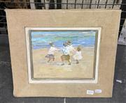 Sale 9004 - Lot 2019 - Johannes Haag - Children Playing on the Beach frame: 33 x 38 cm