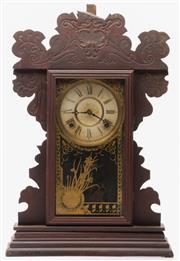 Sale 9078 - Lot 22 - Timber Cased Mantle Clock - some damage to frame H:58cm