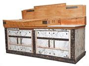 Sale 9087H - Lot 47 - A spectacular French butchers block, circa 1920-1940. (missing piece of marble in photo is available and intact) 2m width, 1.3m heig...