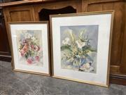 Sale 9091 - Lot 2063 - Leslie Kiernan (2 works) Floral Still Life watercolours 67 x 59cm; 73 x 63cm, each signed