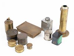 Sale 9130E - Lot 64 - A quantity of brass and tin containers including a World War cylindrical burner with wick