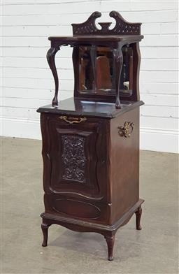Sale 9196 - Lot 1096 - Edwardian Mahogany Coal Scuttle Cabinet or Purdonium, with pierced back & shelf, above a mirror back & fall-front with coal liner (h...