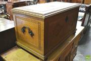 Sale 8390 - Lot 1055 - Carved Oak Trunk with leather top & dated 1931