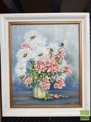 Sale 8491 - Lot 2040 - F. Sherlock - Still Life - Hydrangeas and Daisies, 1966 and Daisies 55 x 47cm (frame size)