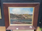 Sale 8552 - Lot 2021 - P Ford (XIX) - Cottages Across the River 29.5 x 39.5cm